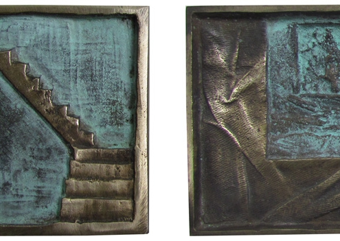 Handcarved Bronze Art Medal by artist Kate Ive with blue patina and hand engraved staircase and window