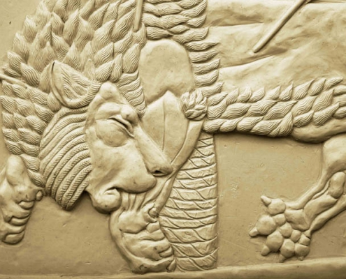 Lion clay sculpture relief Kate Ive Assyrian
