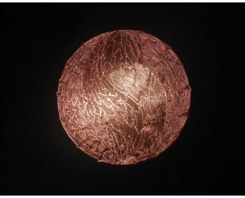 Engraved Copper Art Drawing on black card by artist Kate Ive