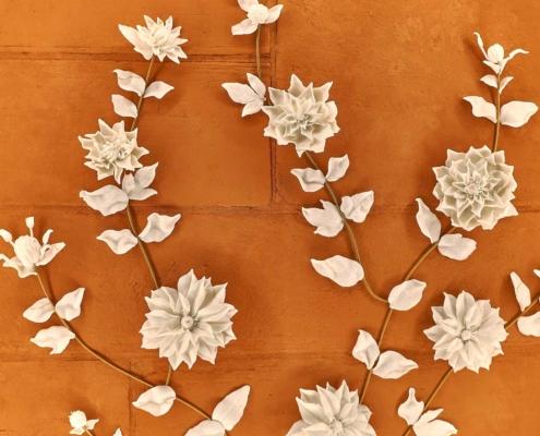 Royal Hospital for Children Artwork, sculpture, Porcelain white ceramic flowers with leaves