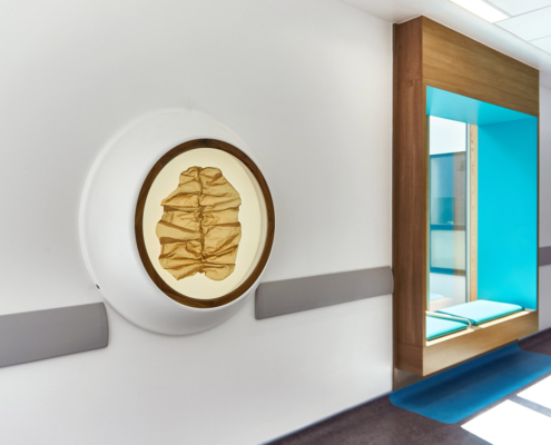 Royal Hospital for Children Artwork, sculpture, Copper mesh in a lightbox wall mounted