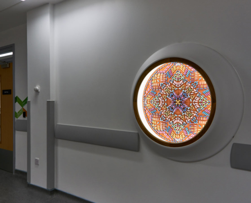 Royal Hospital for Children Artwork, sculpture, in a wall mounted cabinet, glitter pills, mandala
