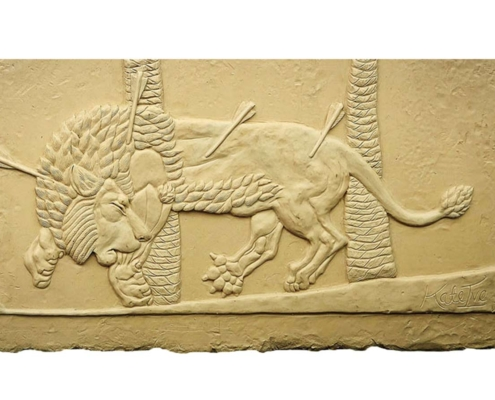 Assyrian Lion clay sculpture relief Kate Ive