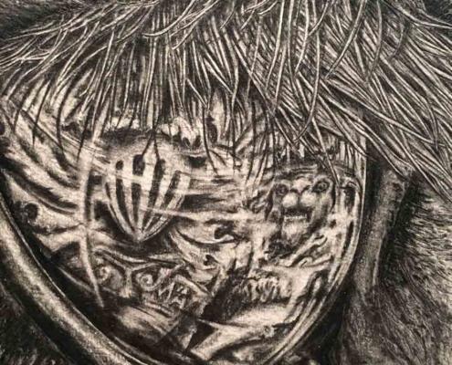 Tonal handmade drawing of unicorn eye Kate Ive artist art