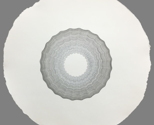 Handmade geometric Drawing on paper by artist Kate Ive, black and white monochrome in sine wave pattern
