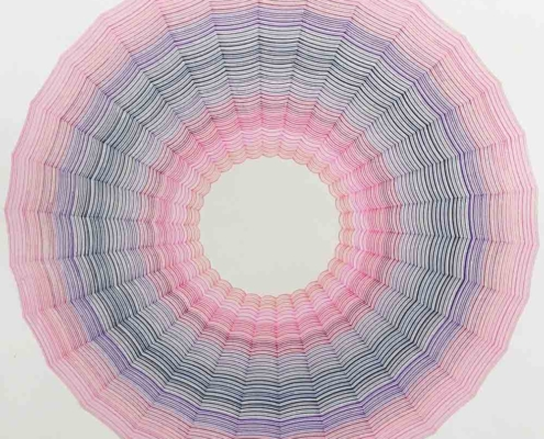 Handmade geometric Drawing on paper by artist Kate Ive, intricate colour drawing with circular pattern