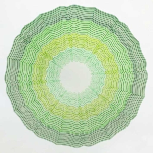 Handmade geometric Drawing on paper by artist Kate Ive, shades of green pen in linear patterns