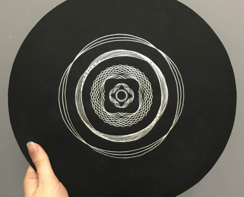 Handmade geometric Drawing with silver Japanese Kirikane on black paper