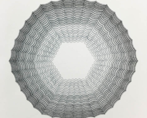 Handmade geometric Drawing on paper by artist Kate Ive, black and white monochrome in hexagonal pattern