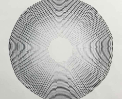 Handmade geometric Drawing on paper by artist Kate Ive, black and white monochrome in concentric pattern