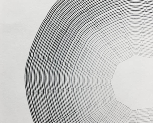 Handmade geometric Drawing on paper by artist Kate Ive, black and white monochrome in concentric patterns