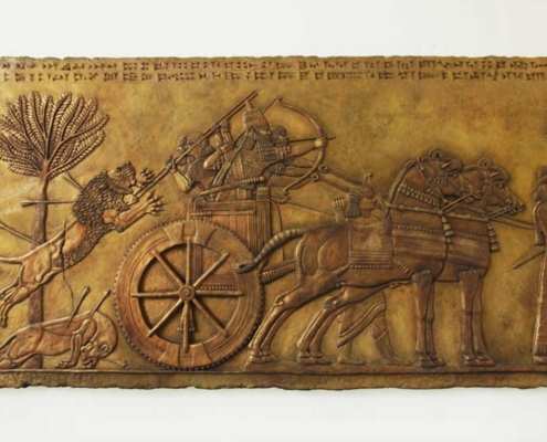 Lion hunt chariot King clay bronze sculpture Kate Ive