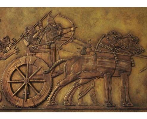 Assyrian art panel lion hunt Kate Ive bronze sculpture